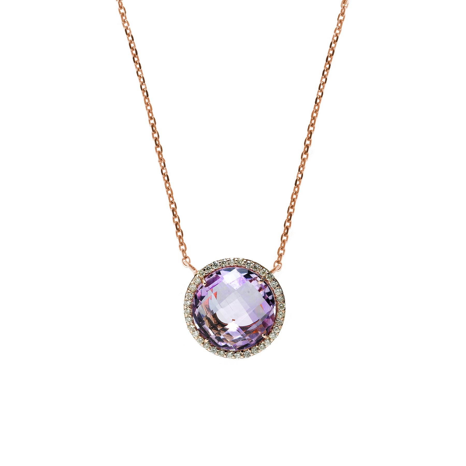 Pale Amethyst and Diamond Necklace, 14K Rose Gold