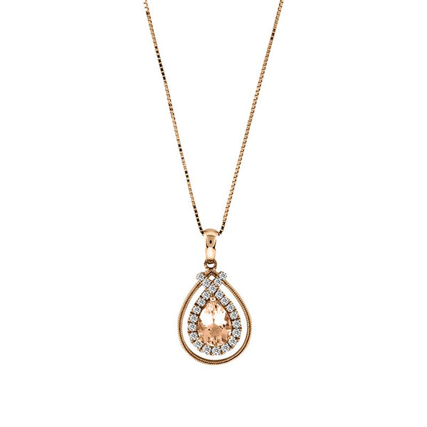 Pear Shape Morganite and Diamond Pendant,14K Rose Gold