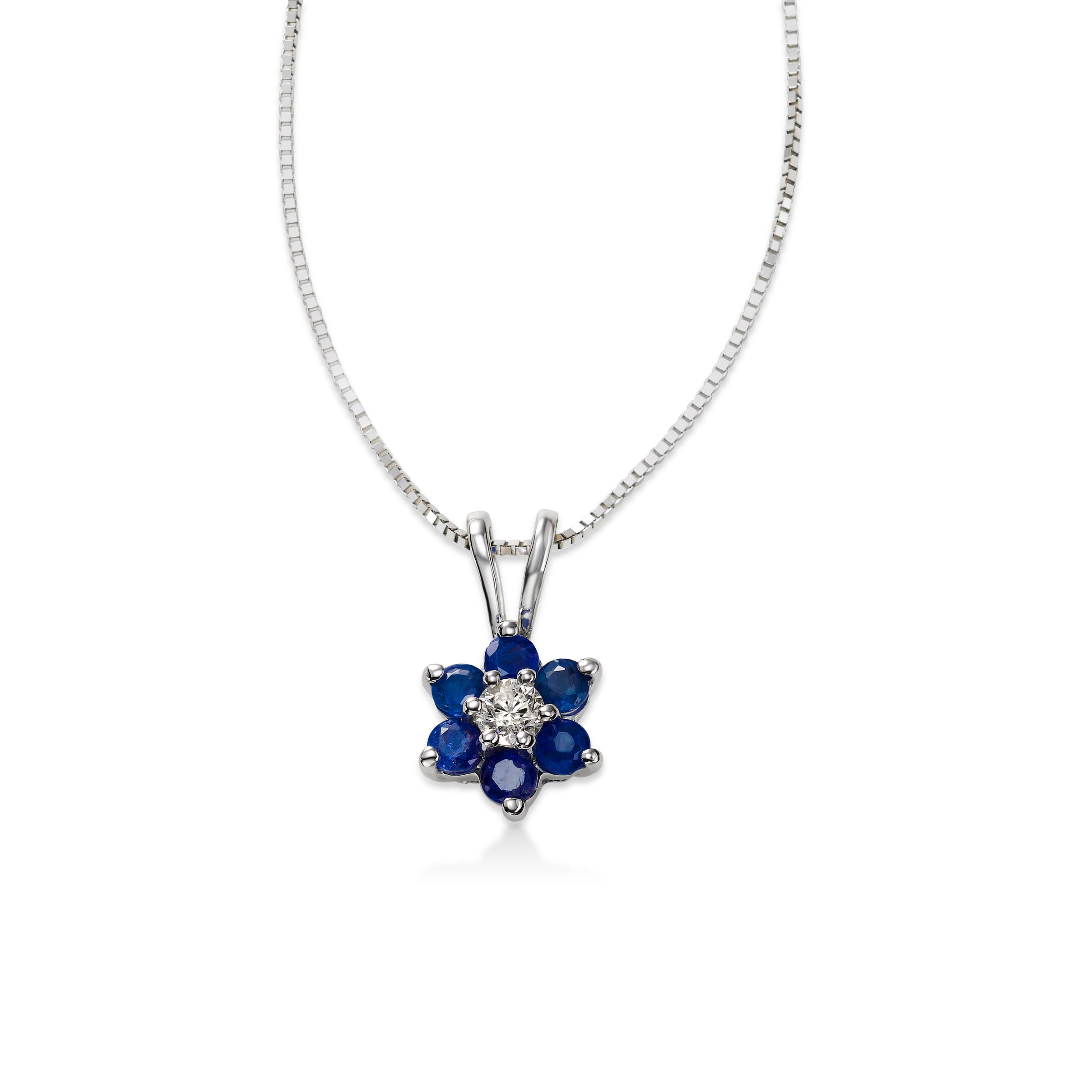 Blue Sapphire and Diamond Flower Pendant, 14K White Gold