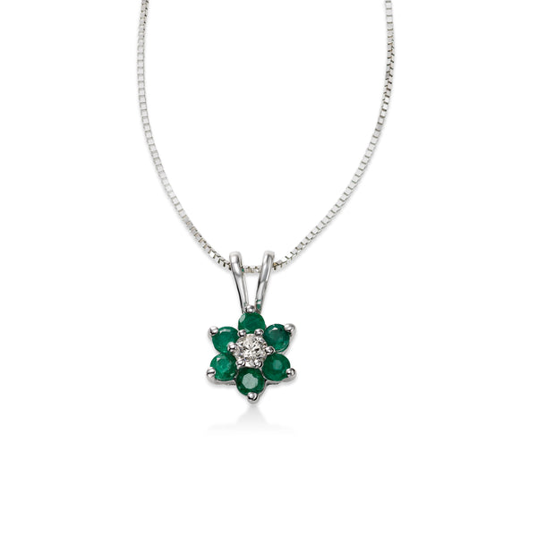 Emerald and Diamond Flower Pendant, 14K White Gold
