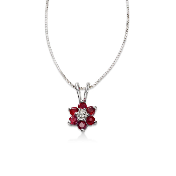 Ruby and Diamond Flower Pendant, 14K White Gold