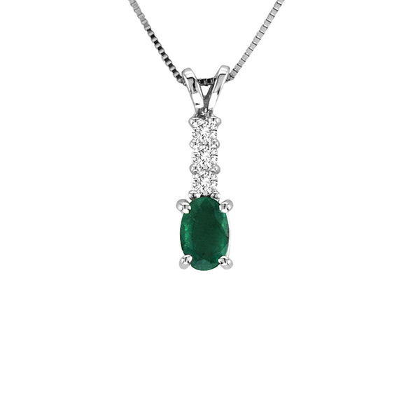 Oval Emerald and Diamond Drop Pendant .75-Inch, 14K White Gold