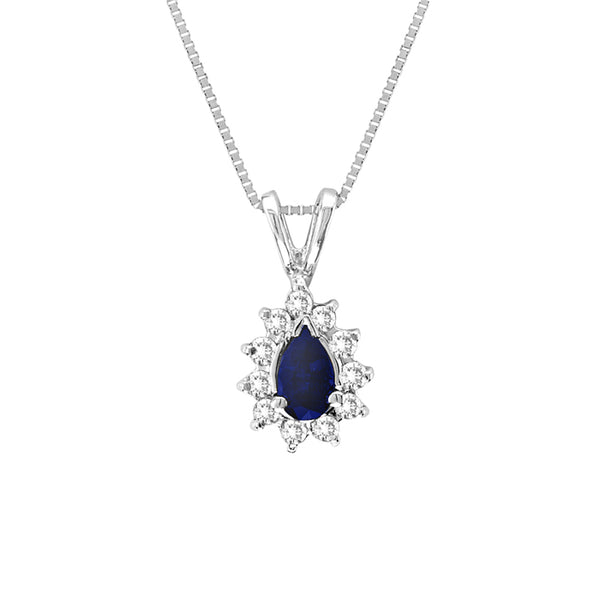 Drop Shaped Sapphire and Diamond Pendant, 14K White Gold