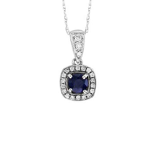 Sapphire and Diamond Cushion Shaped Pendant, 14K White Gold