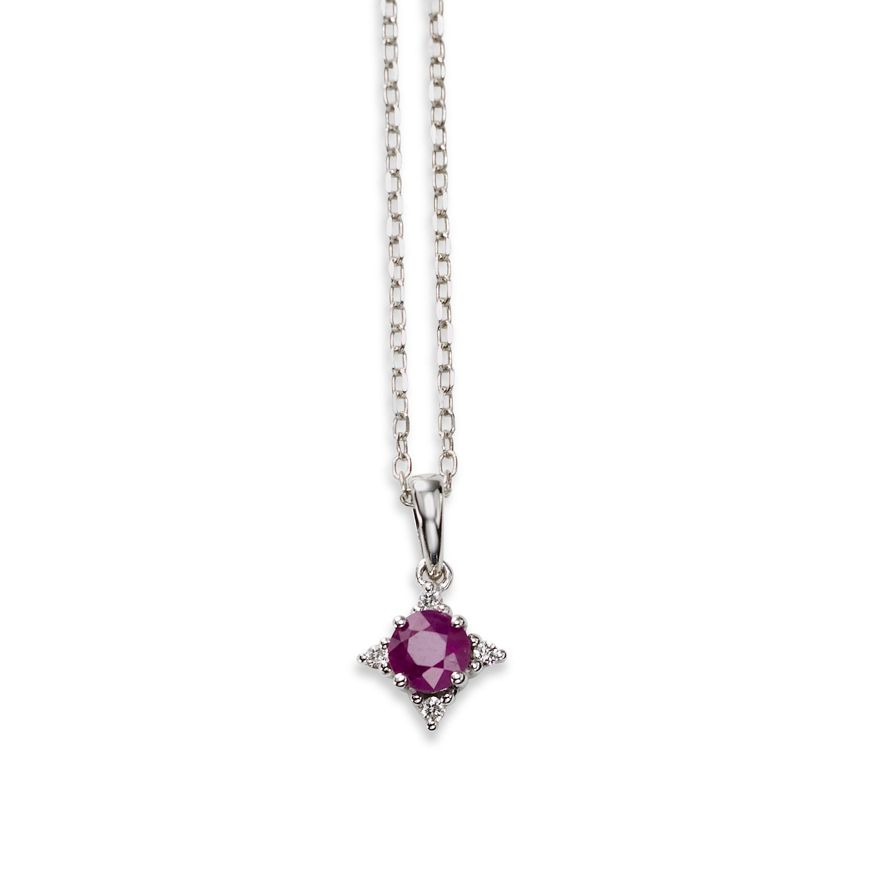 Small Ruby Pendant with Diamond Accent, 14K White Gold