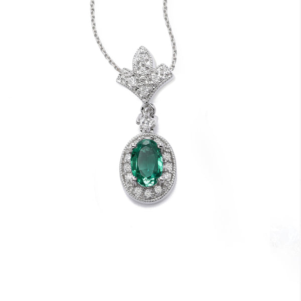 Oval Emerald and Diamond Drop Pendant, 14K White Gold