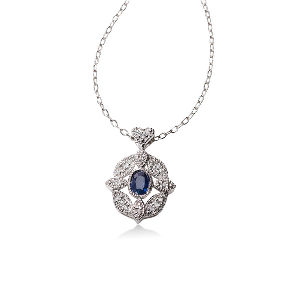 Oval Blue Sapphire and Diamond Filigree Pendant, 14K White Gold