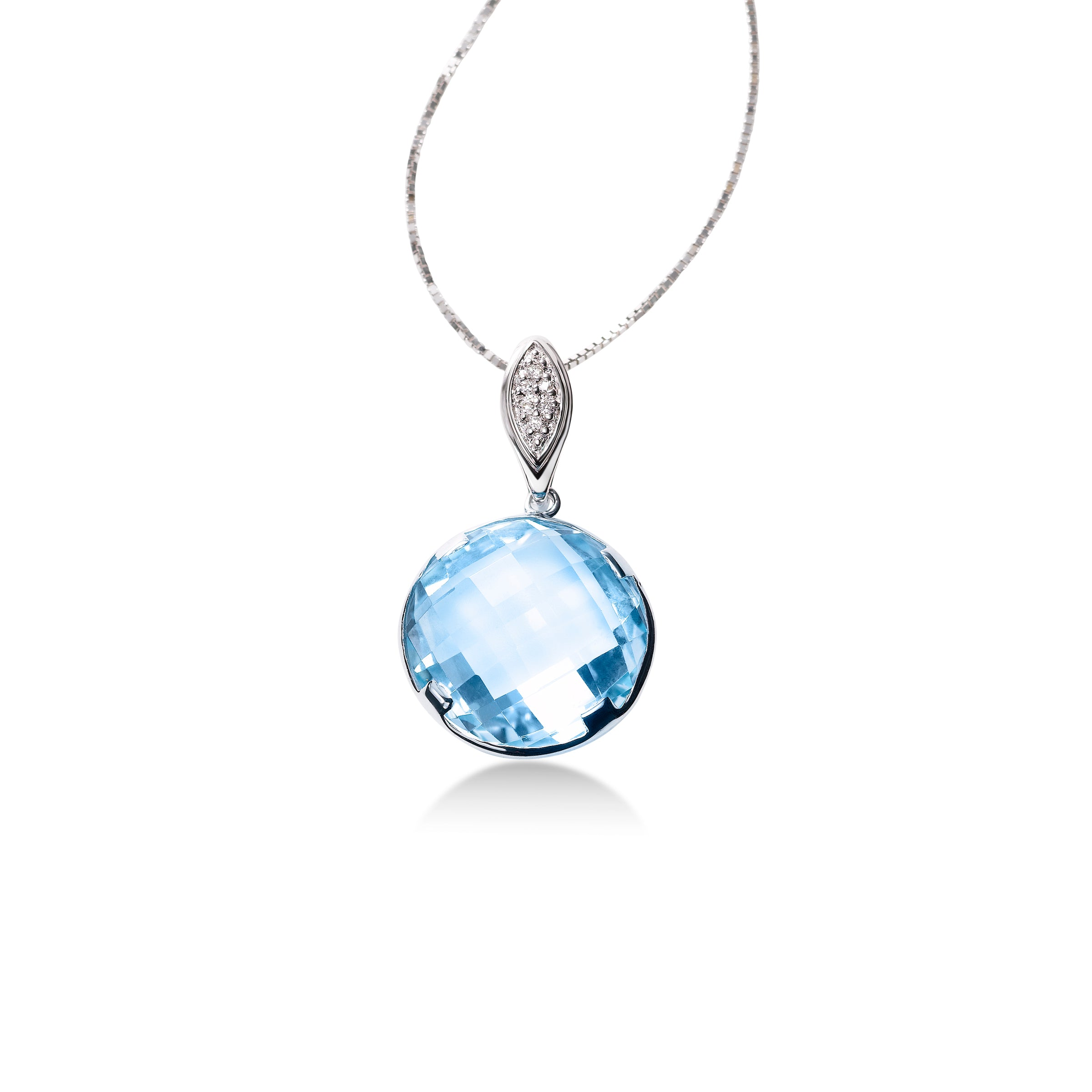 Bezel Set Blue Topaz and Diamond Pendant, 14K White Gold