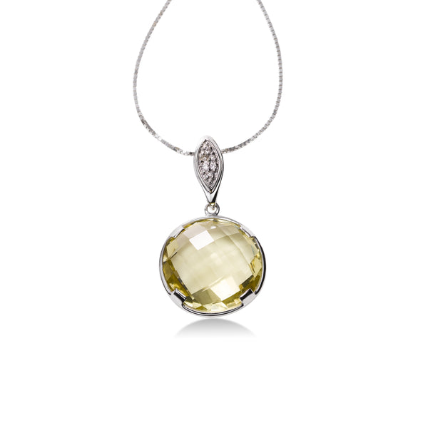 Bezel Set Lemon Quartz and Diamond Pendant, 14K White Gold