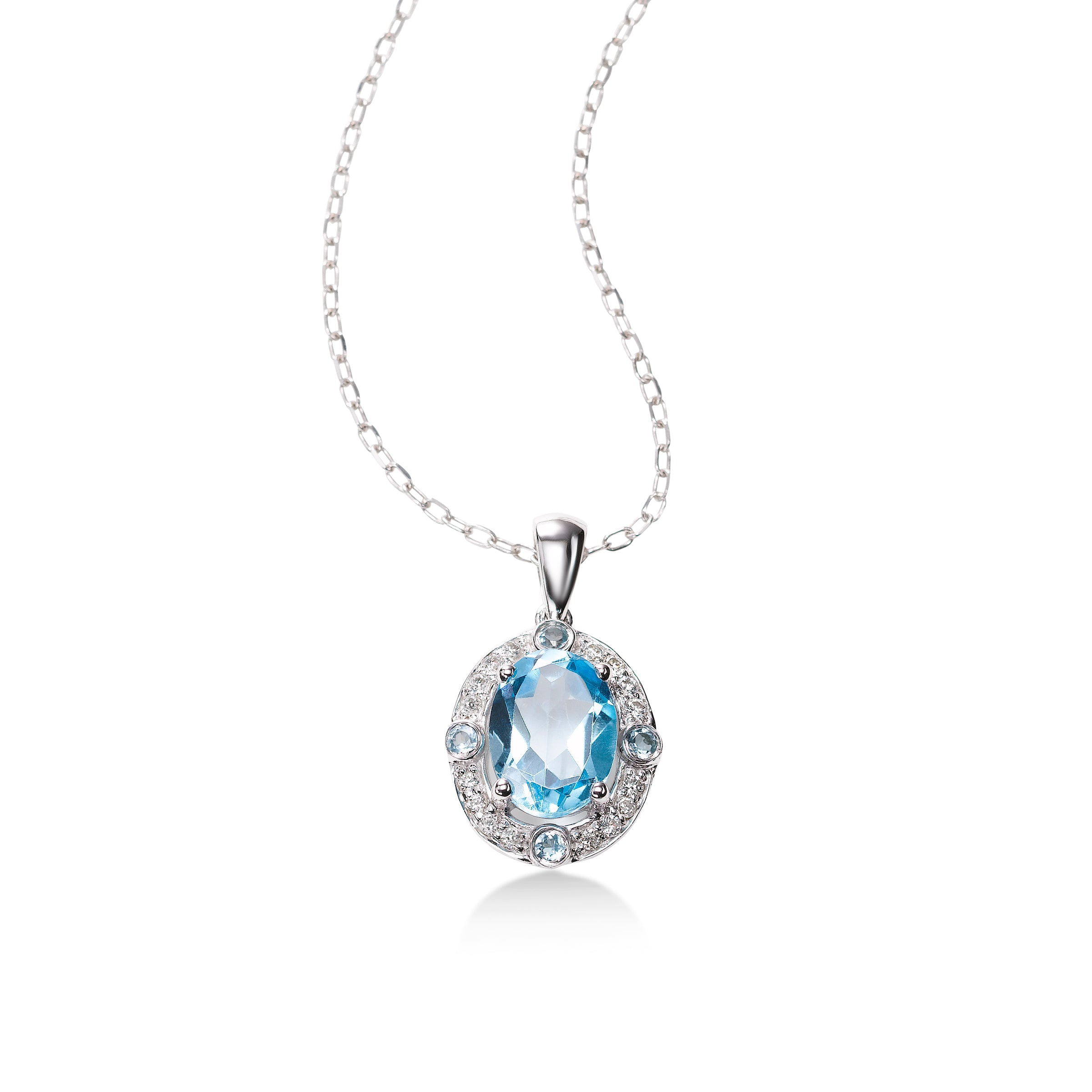 Oval Blue Topaz and Diamond Halo Pendant, 14K White Gold