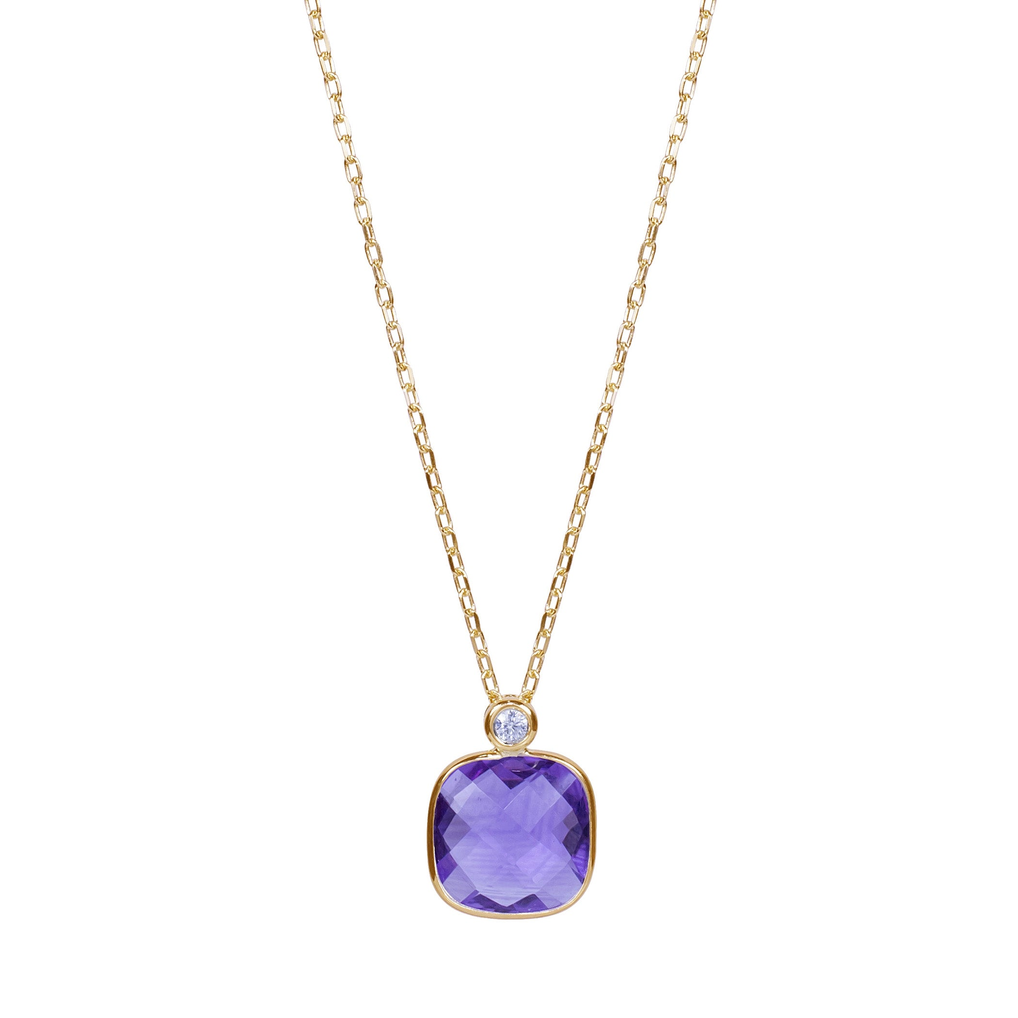 Cushion Cut Amethyst Pendant with Diamond Accent, 14K Yellow Gold