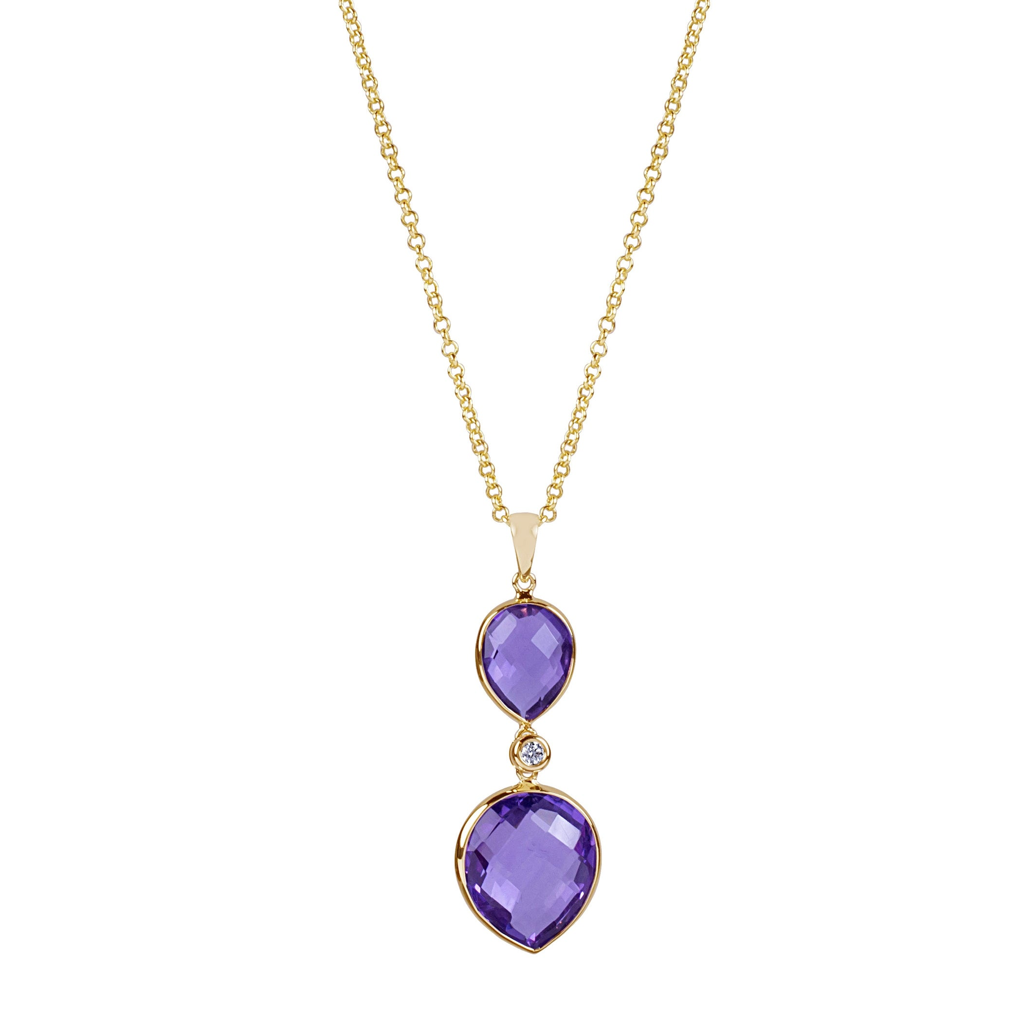 Double Drop Amethyst and Diamond Pendant, 14K Yellow Gold