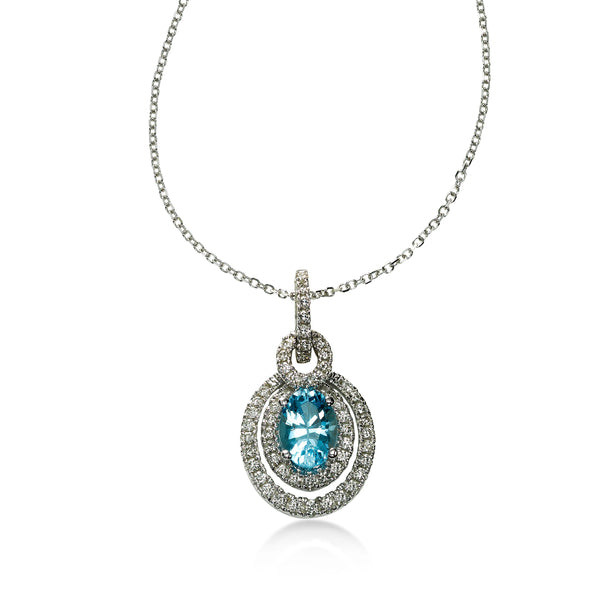 Blue Topaz and Diamond Double Halo Pendant, 14K White Gold