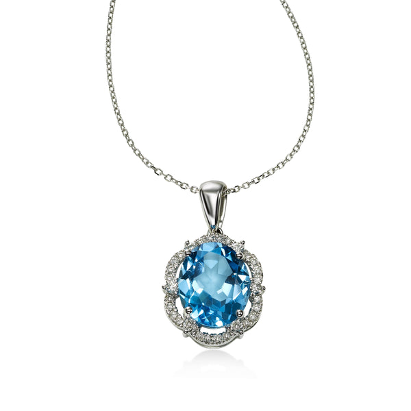 Oval Blue Topaz with Scalloped Diamond Halo Pendant, 14K White Gold