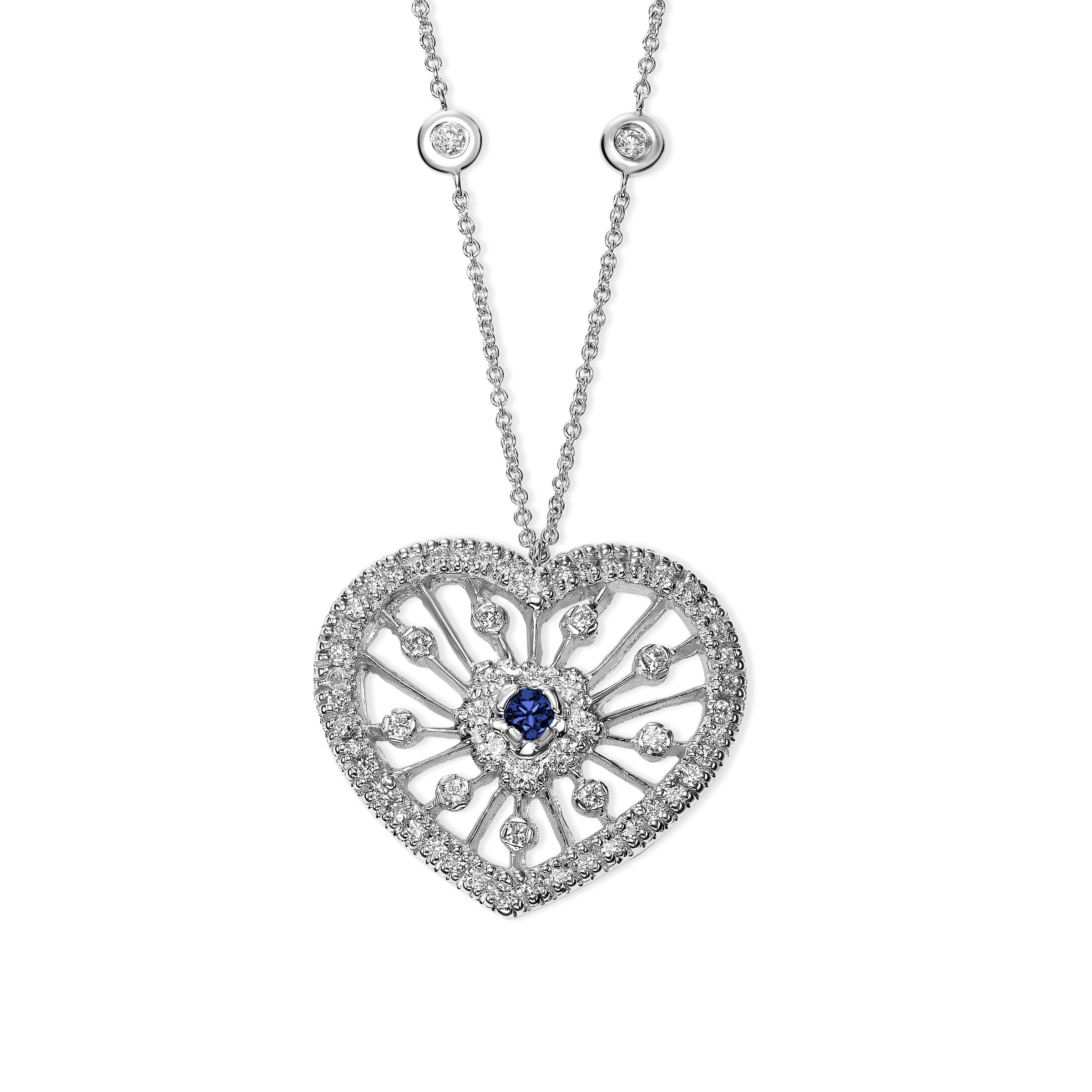 Filigree Diamond and Sapphire Heart Pendant, 14K White Gold
