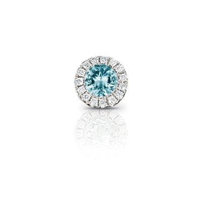Aquamarine and Diamond Rondelle Charm, 14K White Gold