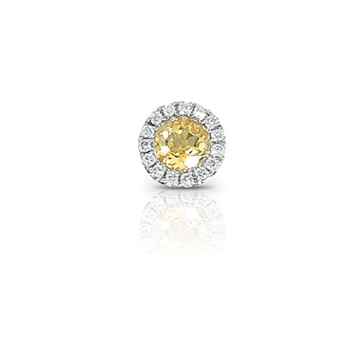Citrine and Diamond Rondelle Charm, 14K White Gold