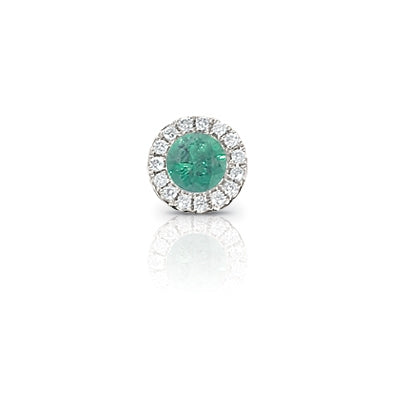 Emerald and Diamond Rondelle Charm, 14K White Gold