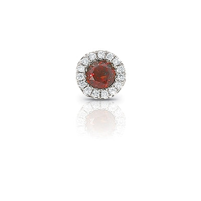 Garnet and Diamond Rondelle Charm, 14K White Gold