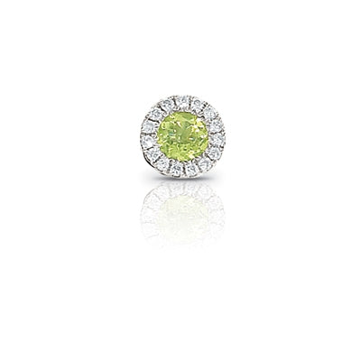Peridot and Diamond Rondelle Charm, 14K White Gold
