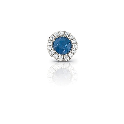 Blue Sapphire and Diamond Rondelle Charm, 14K White Gold