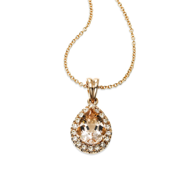 Pear Shape Morganite and Diamond Halo Pendant,14K Rose Gold