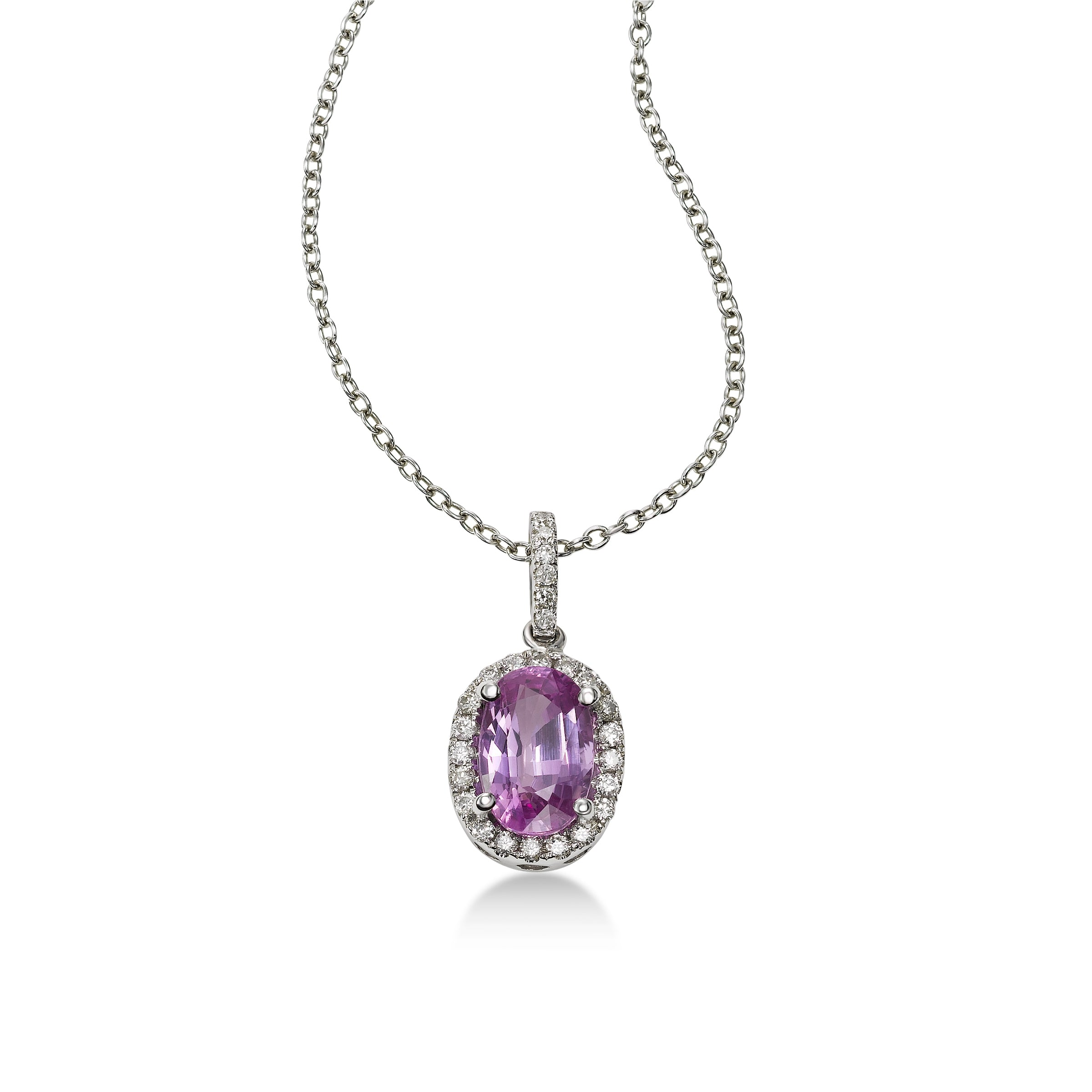 Oval Pink Sapphire and Diamond Pendant, 14K White Gold