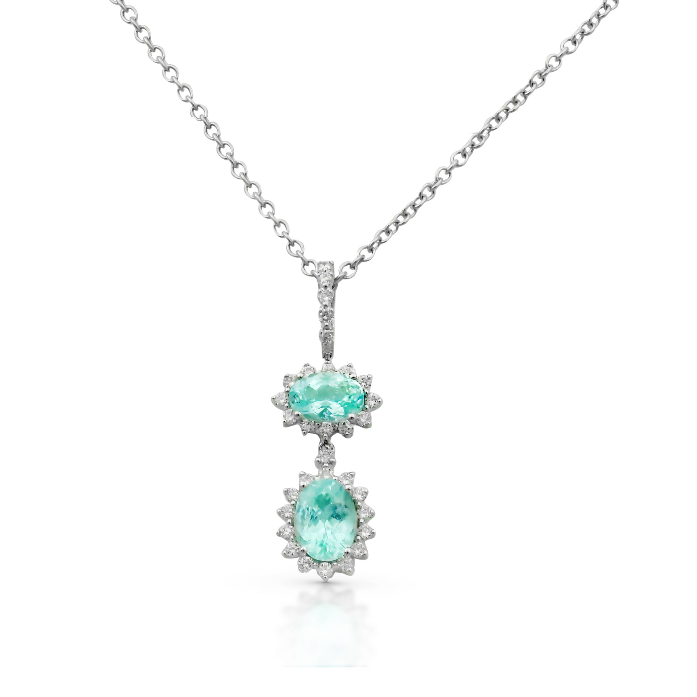 Paraiba Tourmaline and Diamond Drop Pendant, 18K White Gold