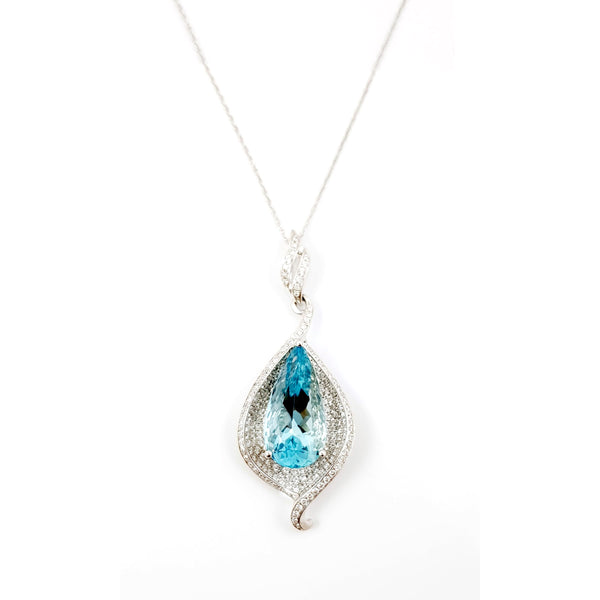 Santa Maria Aquamarine and Diamond Pendant, 18K White Gold