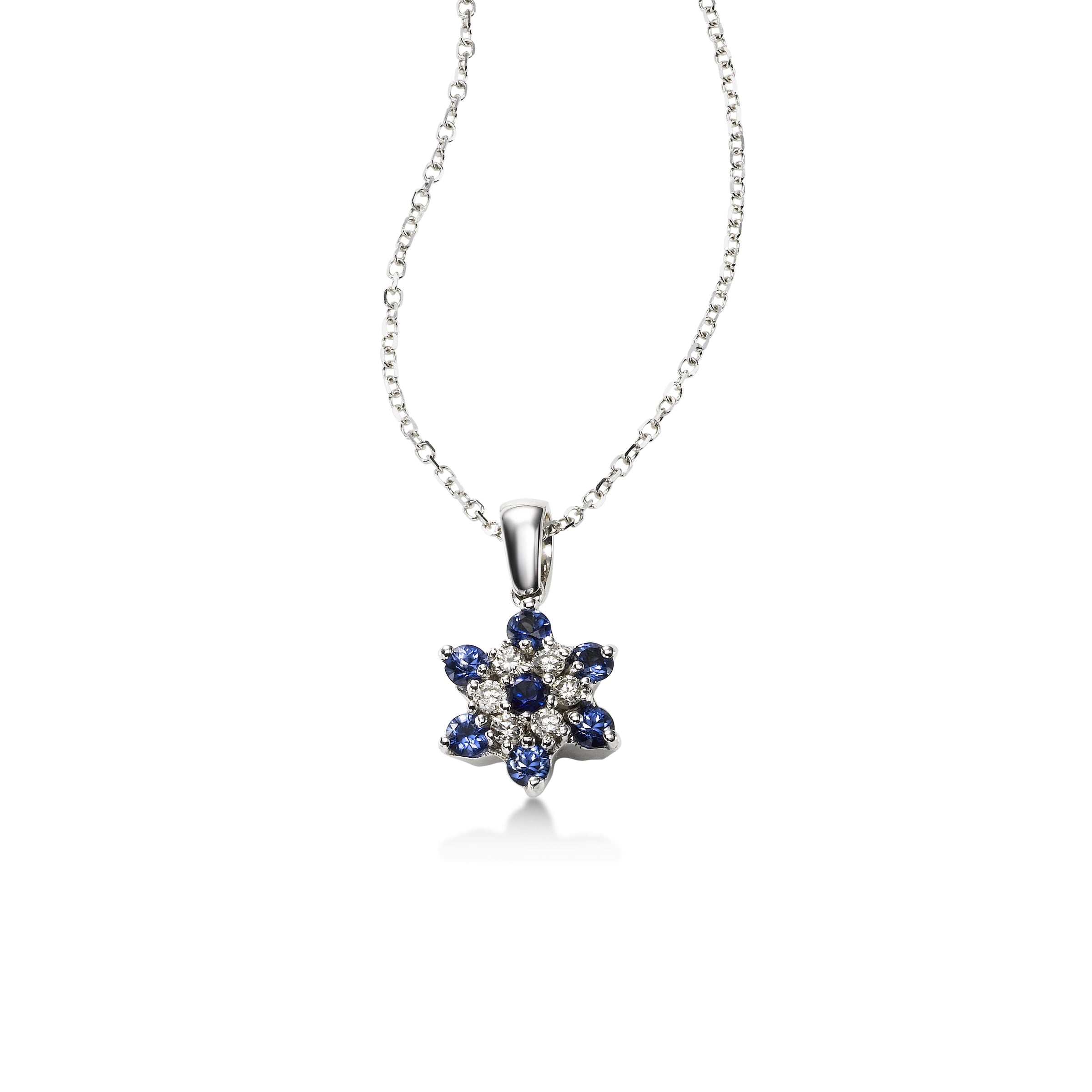Delicate Sapphire and Diamond Flower Pendant, 14K White Gold