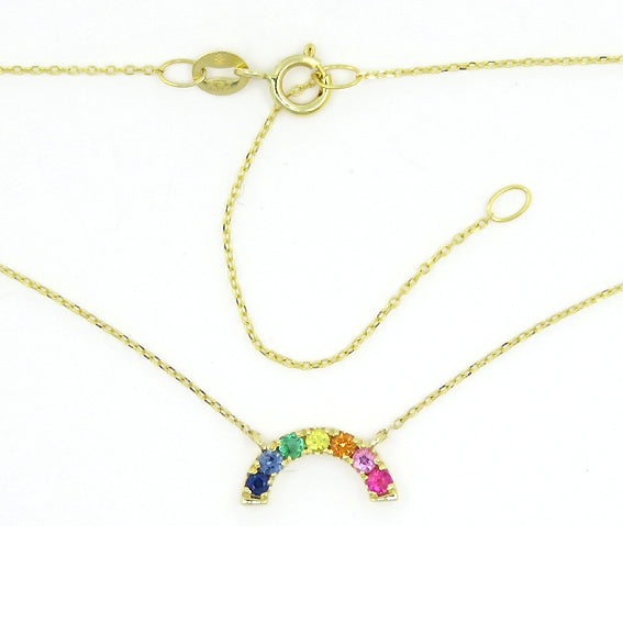Multi Color Gemstone Rainbow Necklace, 14K Yellow Gold