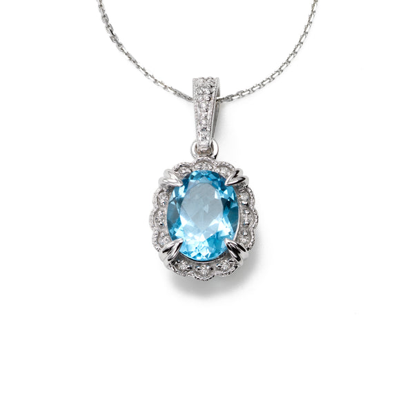 Classic Blue Topaz and Diamond Pendant, 14K White Gold
