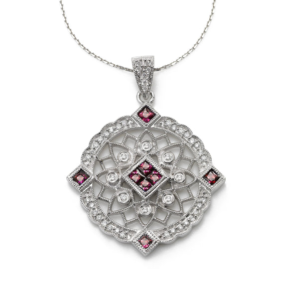 Ruby and Diamond Pendant, 14 Karat White Gold