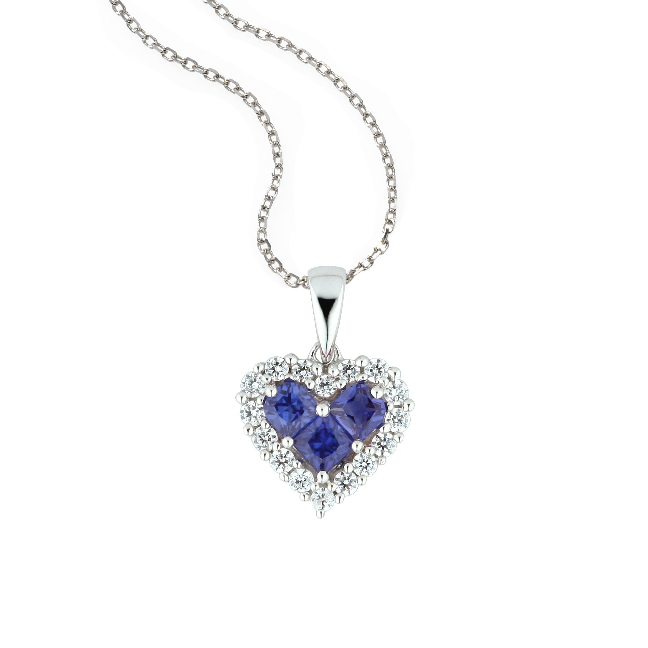 Sapphire and Diamond Heart Pendant, 14K White Gold