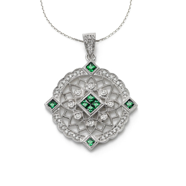 Emerald and Diamond Pendant, 14K White Gold