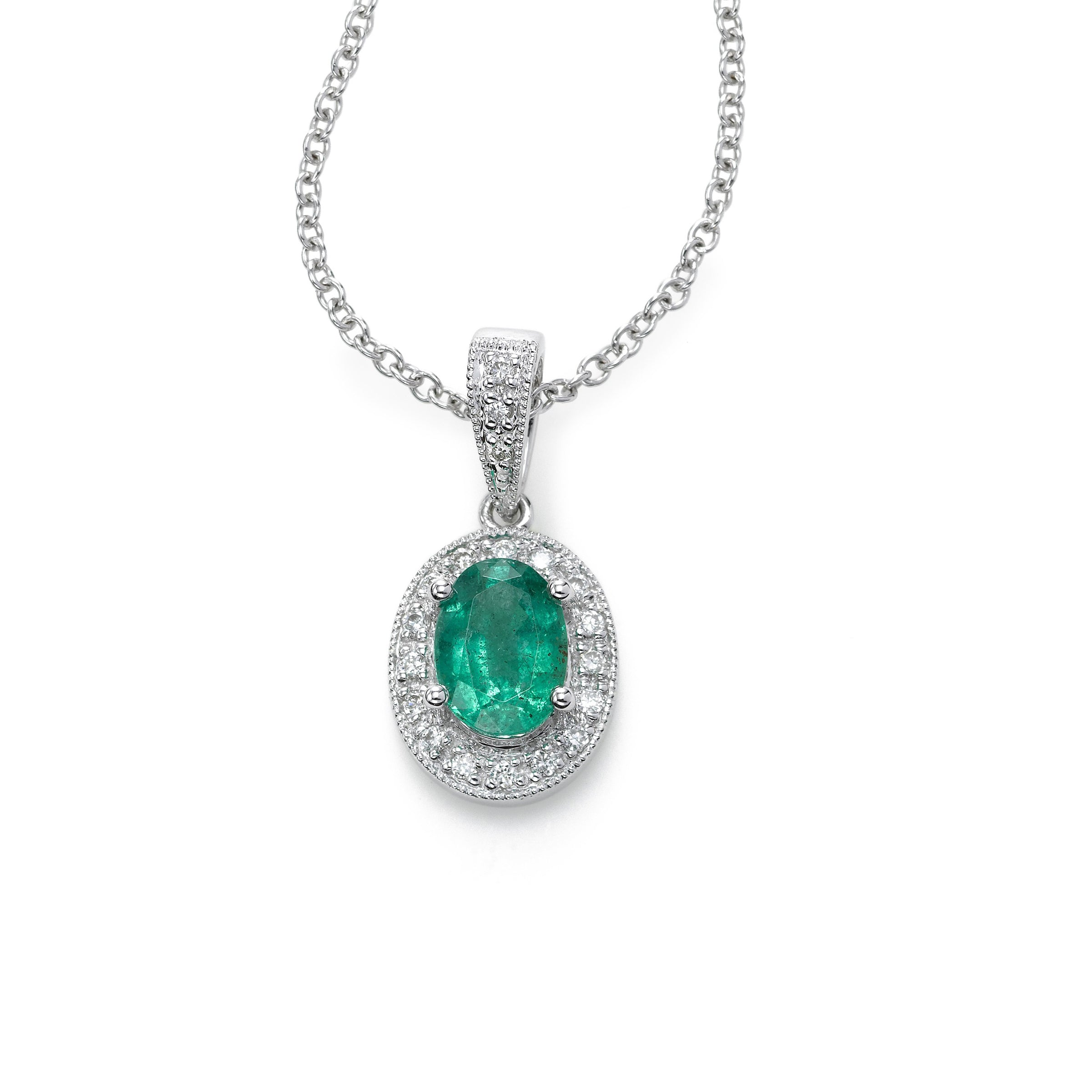 Oval Emerald Pendant with Diamonds, 14K White Gold