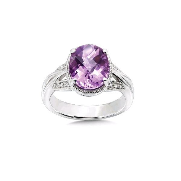 Faceted Oval Amethyst Ring with Diamond Accent, Sterling Silver