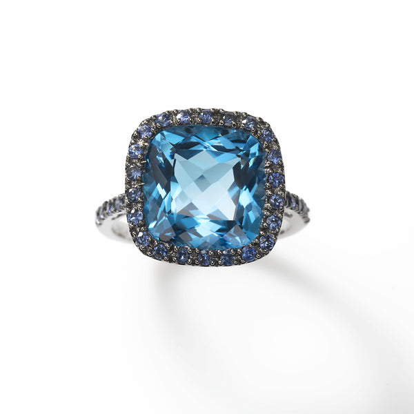 Blue Topaz and Blue Sapphire Ring, 14K White Gold