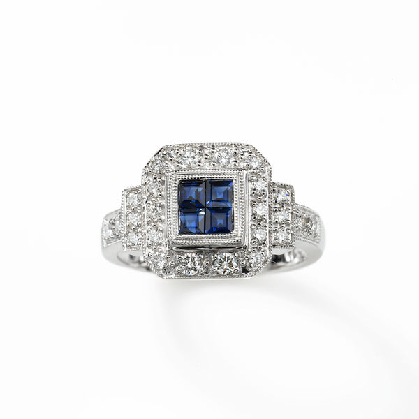 Vintage Style Sapphire and Diamond Ring, 18K White Gold