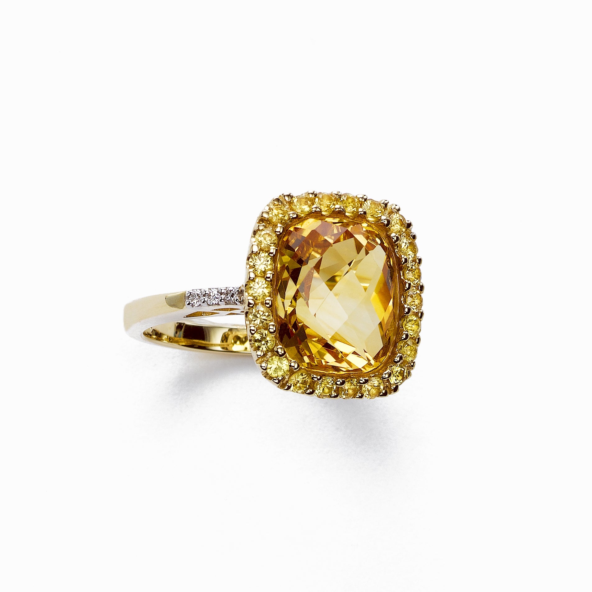 Citrine and Yellow Sapphire Ring, 14K