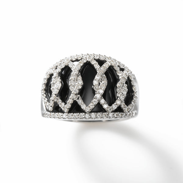 Black Agate and Diamond Cocktail Ring, 14K White Gold, .76 Carat