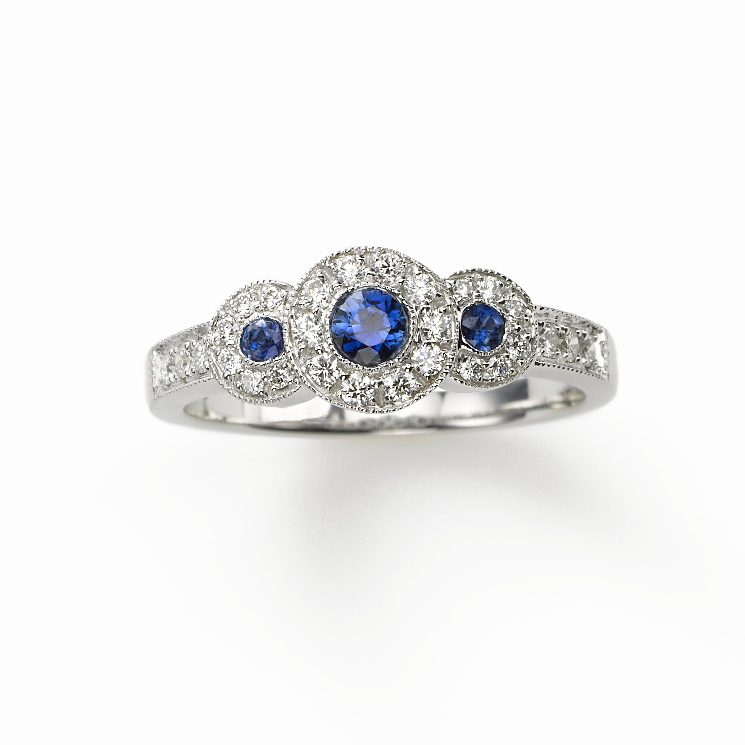 Triple Sapphire and Diamond Ring, 14K WG