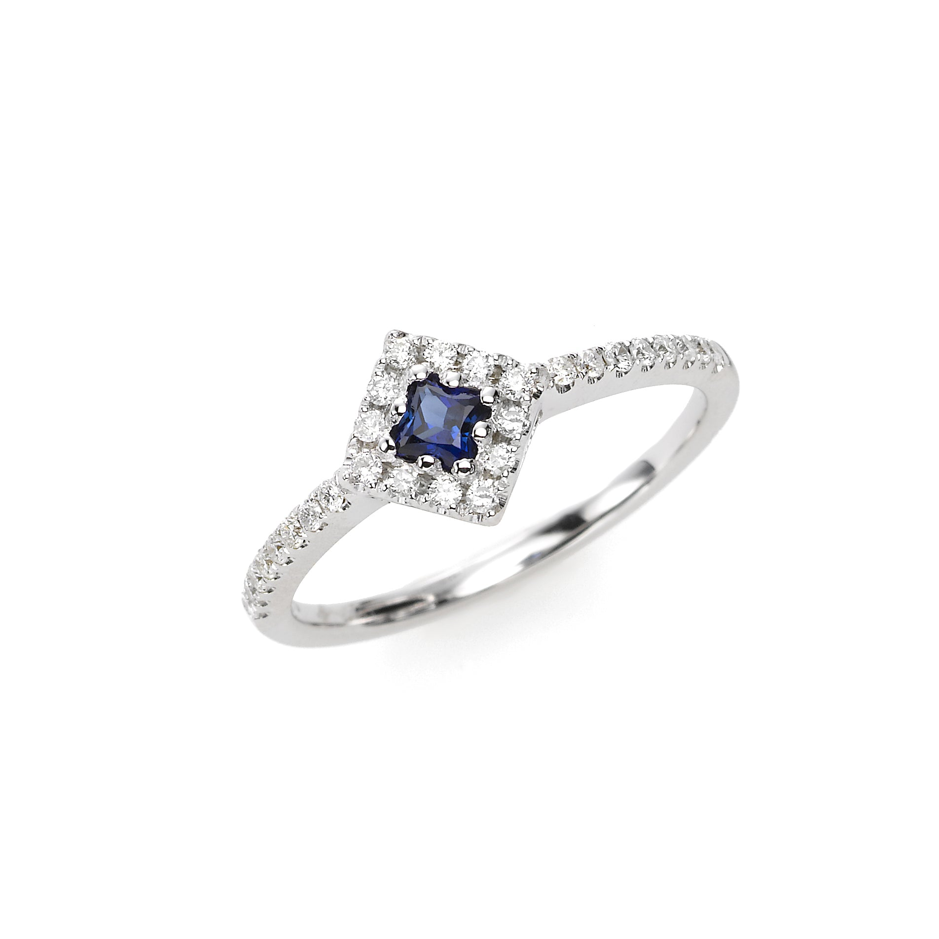 Square Shaped Sapphire and Diamond Ring, 14K White Gold