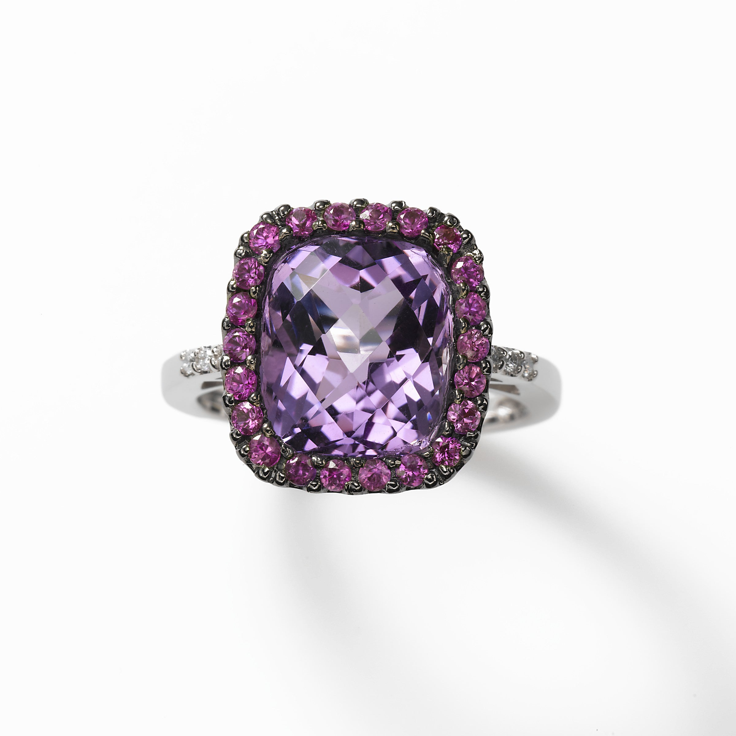 Cushion Cut Amethyst with Pink Sapphire Ring, 14K