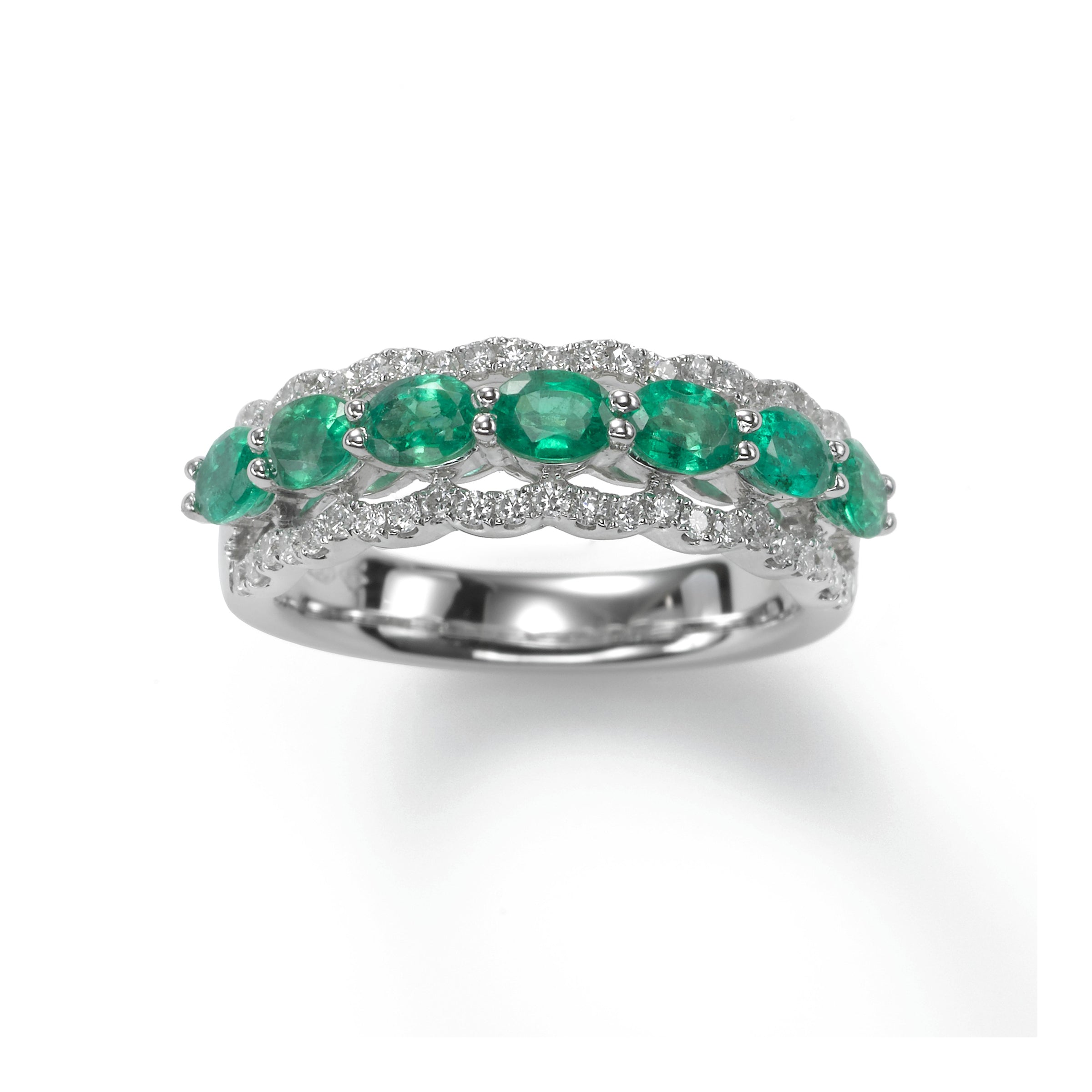 Oval Emeralds Band with Diamonds, 18K White Gold