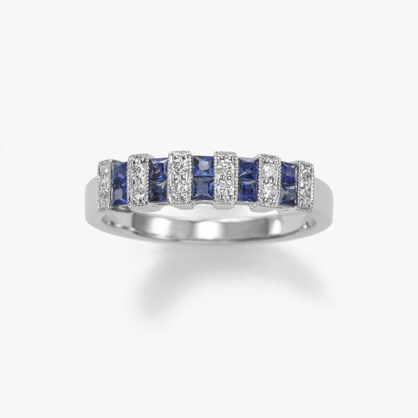 Square Sapphires Ring with Diamonds, 18K White Gold