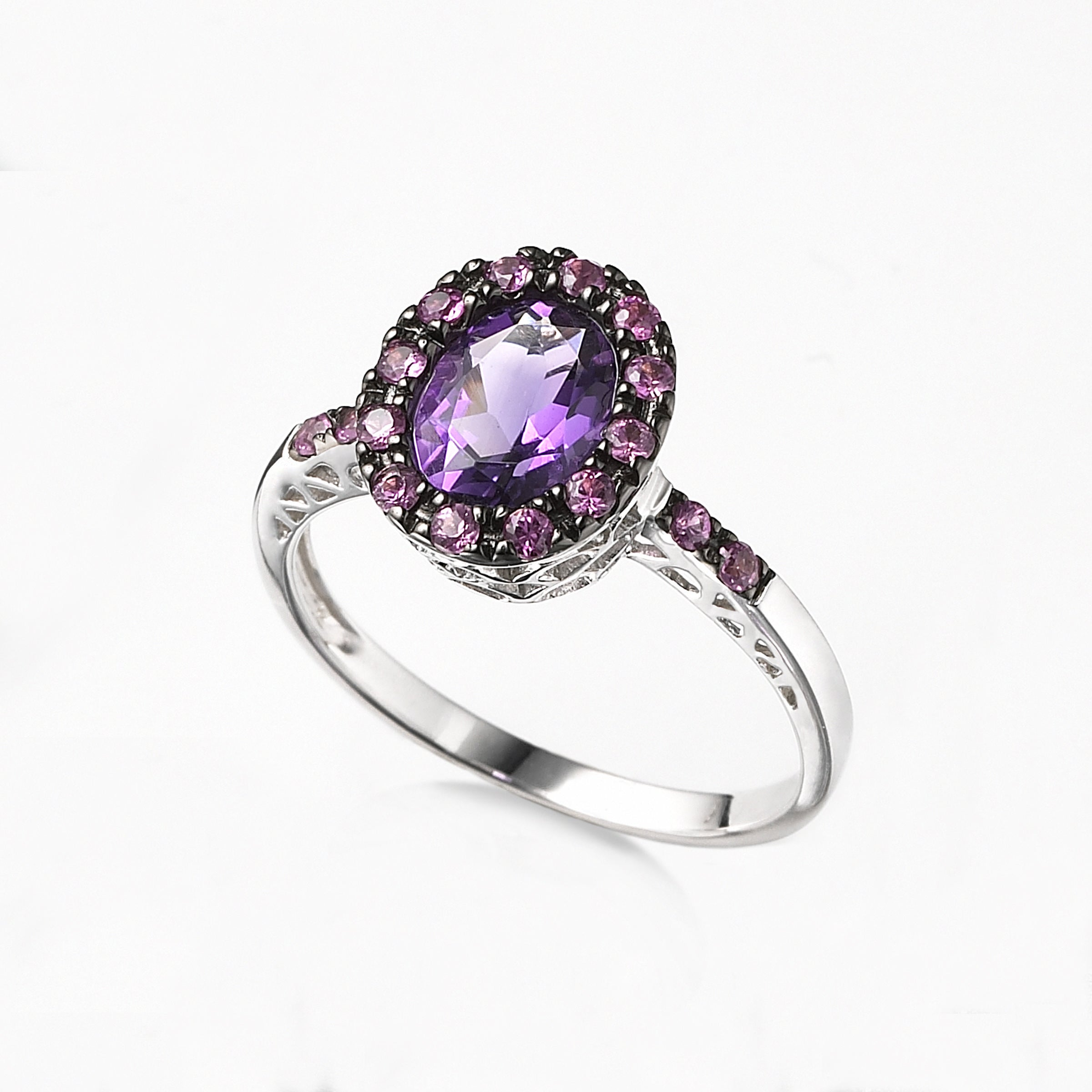 Amethyst and Pink Sapphire Ring, 14K White Gold