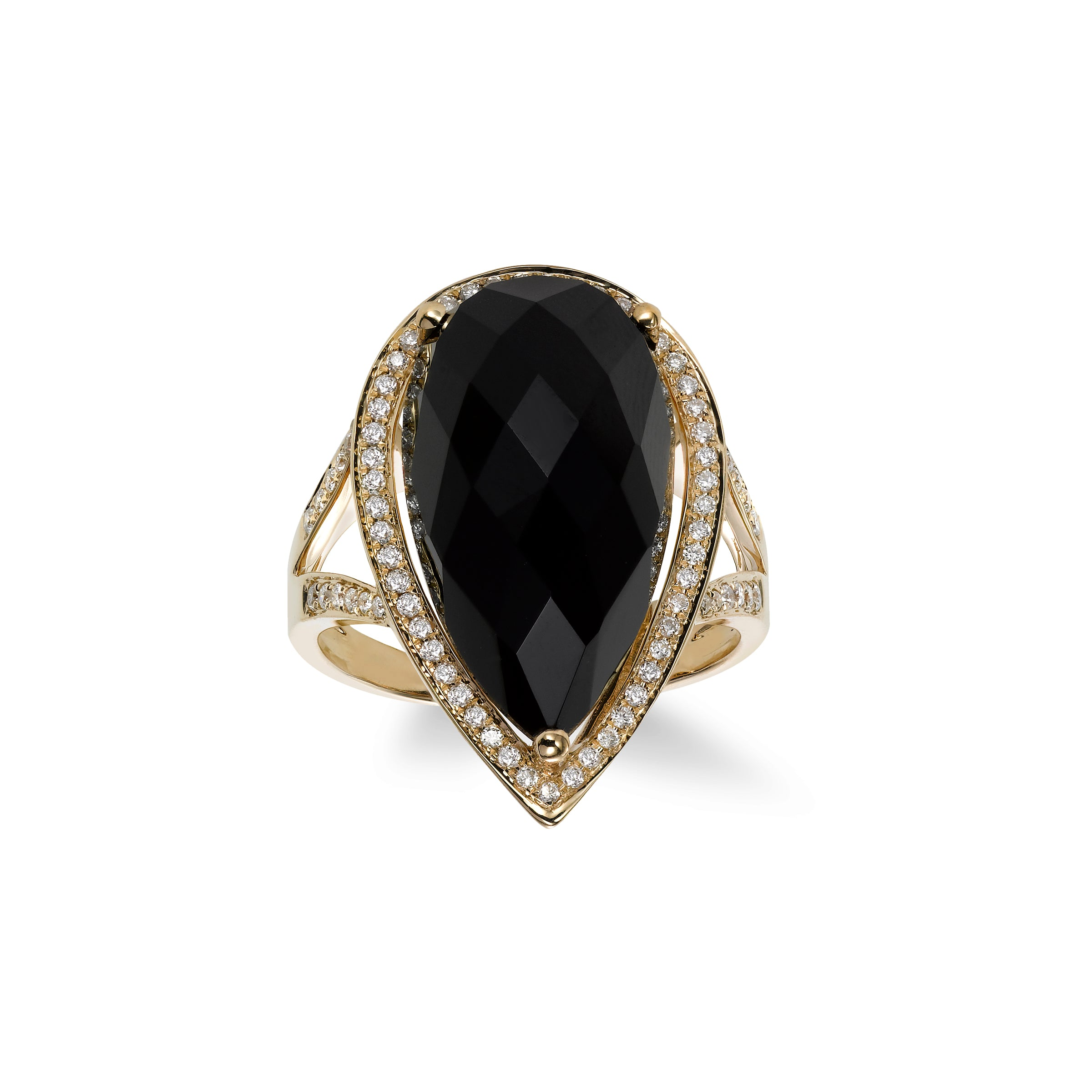 Pear Shape Onyx and Diamond Ring, 14K Yellow Gold