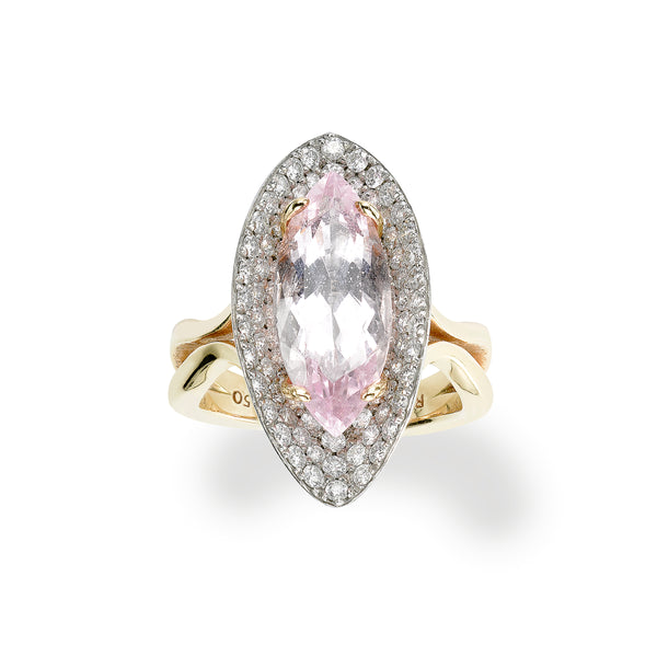 Marquis Shaped Morganite and Diamond Ring, Platinum and 18K Yellow Gold