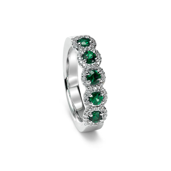 Emerald and Diamond Halo Band, 14K White Gold